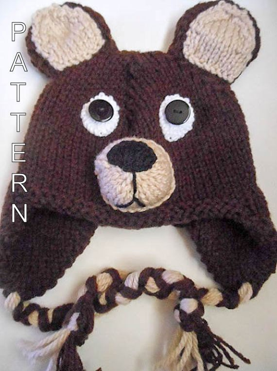 Bear Hat Knitting Pattern : Knitting Pattern Teddy Bear Hat Animal Hat by WistfullyWoolen