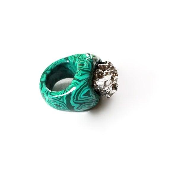 Malachite Ring Pyrite Ring Raw Pyrite Ring Mineral Ring