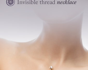 Invisible Thread Necklace: Pearl