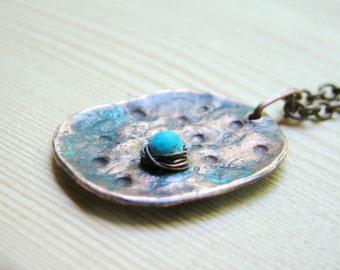 Turquoise Necklace, blue brown - summerbreak gift for her rustic necklace