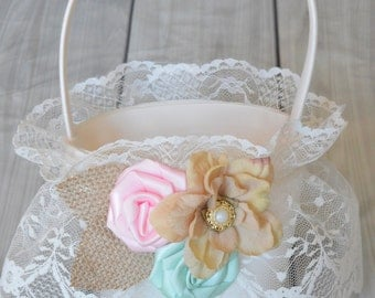 Rustic mint and pink  Flower Girl Basket