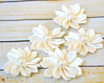 ivory satin ribbon flower with pearl set of  5, 10 or 20 - wholesale flowers - wholesale headband supplies - wholesale satin flowers