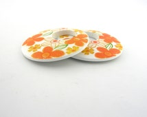 4-40 pcs Large 50mm Orange and White Flower Wood Round Circle Donut Rings Discs for Earrings Pendants Crafts