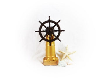 Vintage Ship Wheel Decanter Nautical Decanter Collectible Old Spice Container Coastal Home Decor