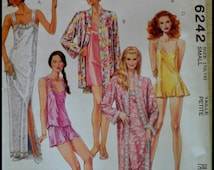 McCall's 6242  Misses' Robe And Nightgown in two lengths, Camisole, Shorts And Teddy  Size Small (10,12)  UNCUT