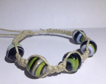 Glass Beaded Hemp Bracelet