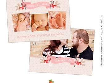 INSTANT DOWNLOAD 5x7 Christmas birth announcement card template - CA392