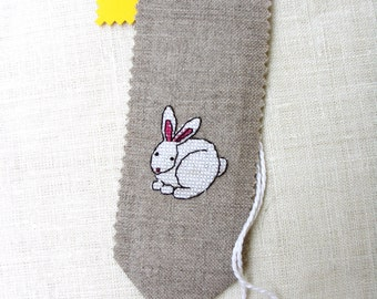 Follow the white rabbit bookmark handmade cross stitch on linen evenweave animal