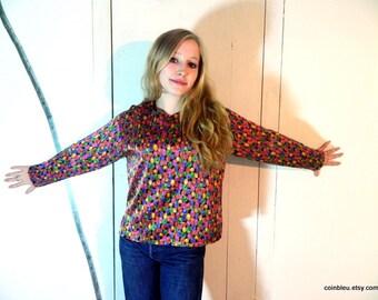 Laurene M, silk shirt, blouse size M, 80's fashion, vintage clothing, retro clothes, multicolour silk blouse, French vintage.