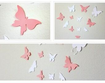 3D Butterflies, Butterflies, Pink and White Butterflies, Nursery wall art, Wedding Butterflies, Paper Butterflies, butterfly wall art