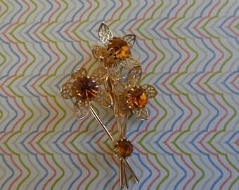 Vintage Flower Brooch Citrine Colored Rhinestones Gold Tone
