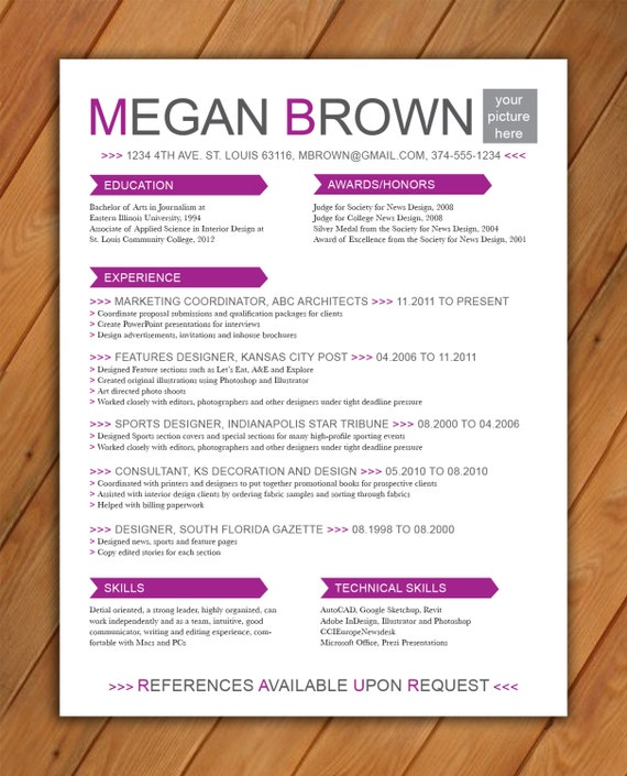 custom resume template big color arrows by rbdesign2 on etsy