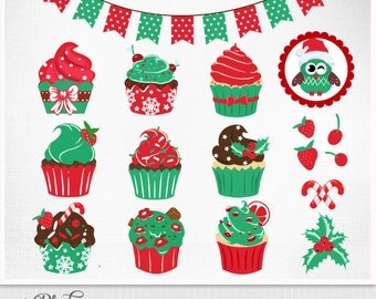 Digital Christmas Cupcakes Clipart - Cakes, Food, Christmas Cupcake Clip Art, Personal use, Instant download graphics Eps and PNG