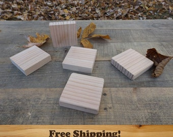 20 Wooden 3 inch by 3/4 inch Square Blocks, All Natural, Unfinished or Finished, Sanded Edges, 3 Inch Square Wooden block Set