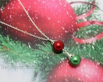 STERLING SILVER Christmas Ornament Necklace Hallmarked 925 -  Red & Green Glass Pearl Ornaments - 6140174
