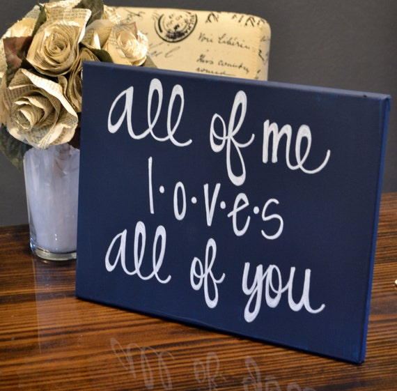 All Of Me Loves All Of You Canvas Painting Navy By