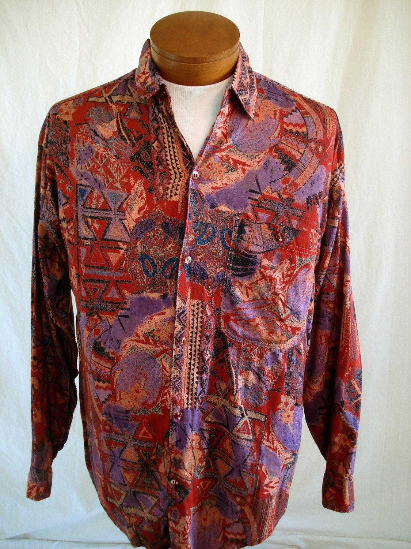 Vintage 90s abstract rayon mens shirt india 7 seven long for Mens rayon dress shirts