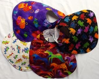 Baby Bibs, Jungle Song Rare Laurel Burch Fabric, Handmade, Priced Individually