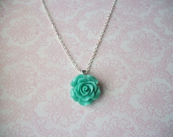 CLEARANCE Handmade Teal Blue Green Large Rose Flower Necklace, Bridesmaids Necklaces