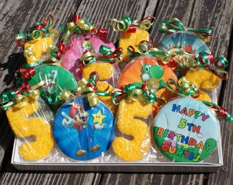 Custom Personalized Super Mario Birthday Party Favors Cookies