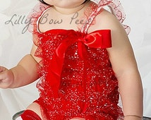 Red Glitter Lace Petti Romper-Baby Girl Clothes-Outfit-Preemie-Newborn-Infant-Child-Baby Clothing-Christmas Dress Up-Patriotic-Military
