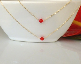 Gold filled Jewelry, Multi Strand Necklaces, Double Strand Gold filled Necklace, Two Red Swarovski Crystals Necklace .