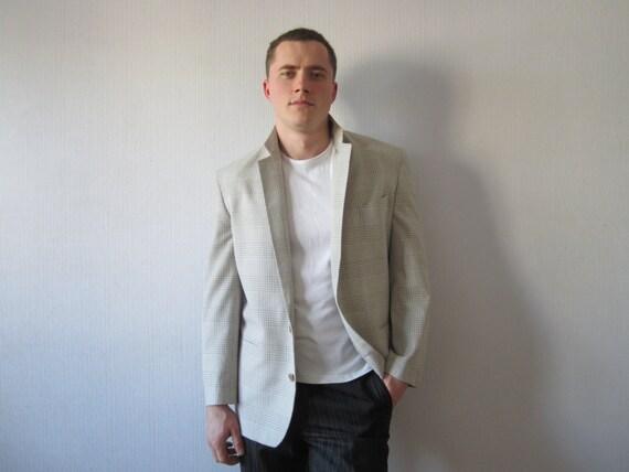 Ivory Beige Plaid Summer Sport Coat Mens Light Gray Suit
