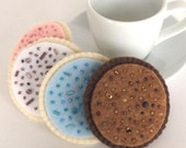 Felt Food: 4 Felt Cookies Hand Stitched, Iced -- 4 handmade iced cookies with beads for children's pretend play, tea set, tea party or gift