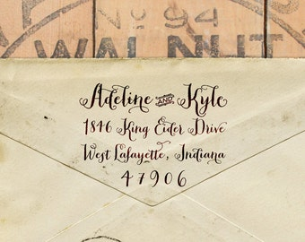 """Custom calligraphy return address rubber stamp - 2"""" x 1.5"""" with a wooden handle - Adeline"""