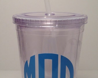 Circle Monogram, Vinyl Lettering, Acrylic, Tumbler, Double Insulated, Custom, 16 oz., Clear, Gifts, Wedding, Bridesmaids