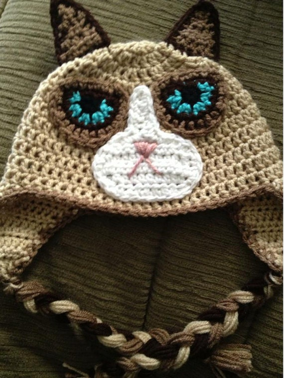 Items similar to Crochet Grumpy Cat Hat PATTERN on Etsy