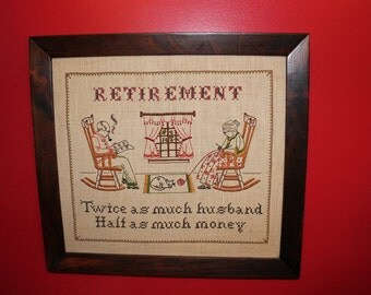 Retirement Crewel Needle Point Embroidery
