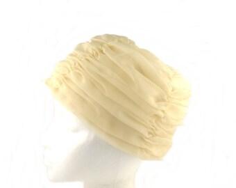 Cream Organza Hat / Cloche Hat