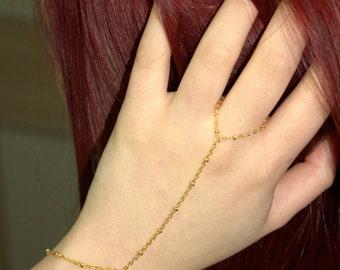 Hand Chain Gold  Finger Bracelet Gold Slave Bracelet-Ball chain