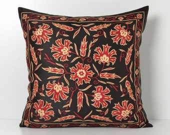 suzani cushion cover vintage pillow sofa pillow embroidered suzani pillow cover embroidered pillow suzani pillowcase black floral pillow