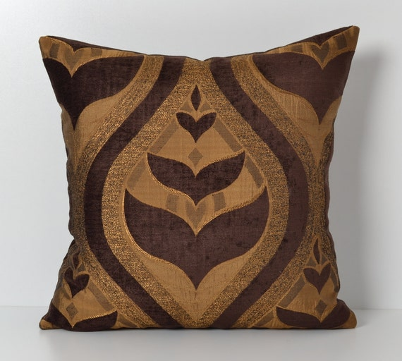 Brown Golden Geometric Couch Pillow Cover Shimmer Pillow