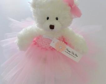 Pink Princess Tutu Teddy Bear, girls gift, flower girl gift, Wedding Keepsake
