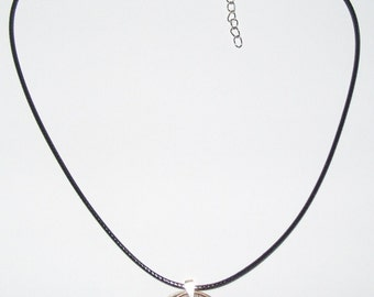 "Black Waxed Cord British 1902 Penny  & Farthing Necklace17"" 43cm With Extension Chain"