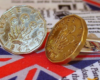 Boxed Pair Vintage British 1942 Threepence 3d Coin Cufflinks Wedding 75th Birthday