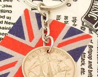 1963 Half Penny Old Half Penny English Coin Keyring Key Chain Fob Queen Elizabeth II