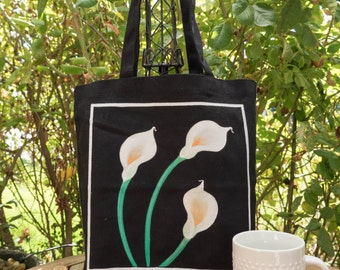 Calla Lilly Hand painted 100% cotton canvas tote-calla lilly