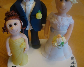 Polymer Fimo Clay Personalised Wedding Cake Topper, Bride and Groom and Daughter