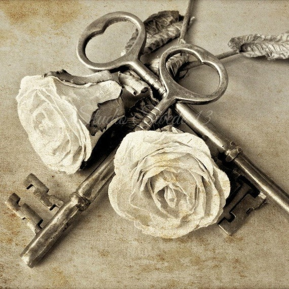 Shabby romantic chic photo french country art old key print for Art with old keys