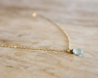 Tiny Aquamarine Necklace - 14k Gold Fill or Silver - March Birthstone - Mint Bridesmaids Necklace - Teal Blue Turquoise - Delicate Tear Drop
