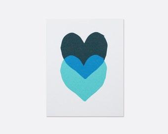 Blue Hearts Print
