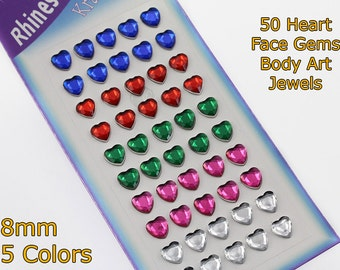 50 Assorted Colors 8mm Heart Stickers Face Gems Stick On Body Jewels Self Adhesive Rhinestones