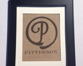Custom personalized monogram wedding gift family initial and name established date  sign on real burlap