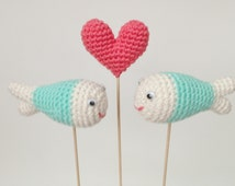 Wedding Cake Toppers, Crochet Cake Topper, Crochet Fish And Heart, Fish Cake Topper
