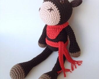 Bull Plush, Bull Stuffed Animal, Bull Plushie, Bull Stuffed Toy, Crochet Bull, San Fermin Bull, Pamplona Bull