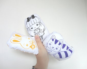 Set pillow Alice in wonderland Chesire Cat White Rabbit Hand Painted on white cotton kawaii plush fairy tale fable cushion